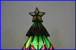 Vintage Stained Leaded Glass Christmas Tree With Presents Light Lamp Tiffany Style