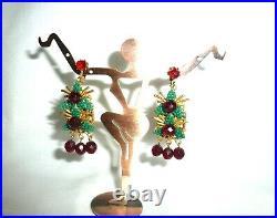 Vintage Stanley Hagler Christmas Xmas CLIP EARRINGS Dangle Drop POINSETTIA 2.5