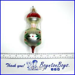 Vintage Wire Wrap Drop Reflector Indent Christmas Ornament Old World Inge-Glas