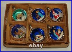 Vintage Xmas Full Set of 6 Diorama Glass Ornaments Italy with Box Angel Deer Santa