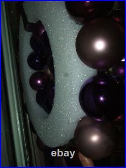 Vintage handmade christmas ornament wreath purple 19.5 glass holiday decor bird