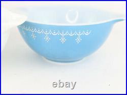 Vntg Pyrex Snowflake Xmas Garland Cinderella Mixing Bowl Set/4 441 442 443 444