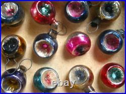 Vntg Teeny 5/8 Feather Tree Mercury Glass Indent Xmas Ornaments 24&Box REDUCED