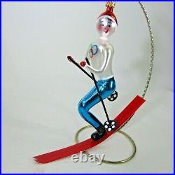 Vtg 1994 Italian RADKO TOMBA Olympic Skier Ski X-mas Ornament 94-279-0 BIG 7