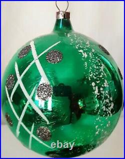 Vtg Blown Glass Poland Christmas Ornaments Mica Hand Painted 3.5 Jumbo