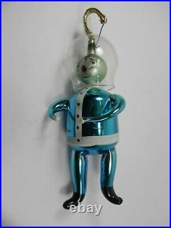 Vtg Blown Glass Space man Christmas Ornament ITALY De Carlini