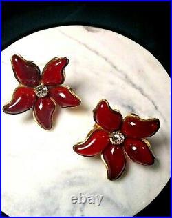 Vtg CHANEL Earrings 1997P Red Poinsettia Flower Shape Gripoix Glass Clip CC Box