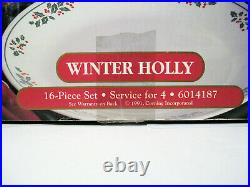 Vtg Corelle WINTER HOLLY Days Christmas Holiday 16pc SET Dinnerware Plates Bowls