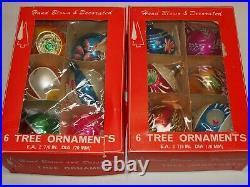Vtg Glass Xmas Ornaments Set 12 BALLS Indent TEAR Shape Hand Painted European