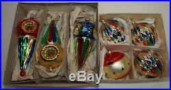 Vtg Glass Xmas Ornaments Set 7 FINIAL Indents Shapes Hand Painted European