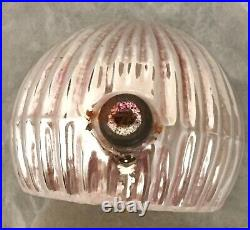 Vtg Liquid Filled Indent Reflector Mercury Glass Christmas Ornament Pink Yellow