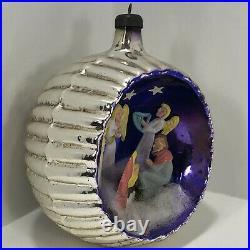 Vtg Mercury Glass Italian Diorama Nativity Scene Christmas Ornament 3D Religious