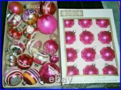 Vtg PINK Shiny Brite Poland Xmas Ornaments 4 Mid-Century lot basket bell