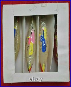 Vtg Sears MCM Teardrop Wisemen Nativity Glass Xmas Ornament Italian Italy Rare