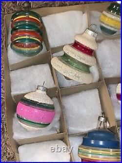 Vtg Shiny Brite Lantern UFO Barrel Unsilvered Mica Christmas Ornaments Lot