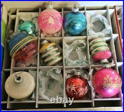 Vtg Shiny Brite USA Glass Christmas Ornaments Crafters large Lot 45 & Boxes