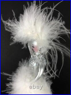 Vtg Sofieria De Carlini Blown Glass Lady Topper 13 Silver White Feathers Italy